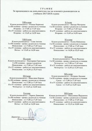 """График за провеждане на допълнителен час на класните ръководители в ПГ """"Д-р Иван Панов"""""""